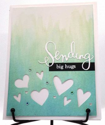 front of sending big hugs handmade card